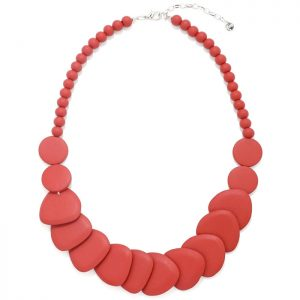 Women's layered pastel red colour shaped disc wood necklace