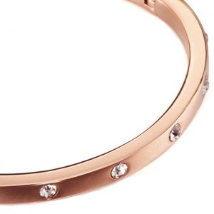 costume jewellery rose gold colour flexible hinge diamante slave bangle