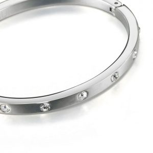 Diamante crystal costume jewellery silver colour flexible hinge slave bangle