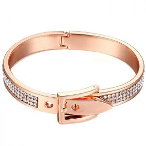 Fashion rose gold adjustable buckle hinge easy to fit quality bangle