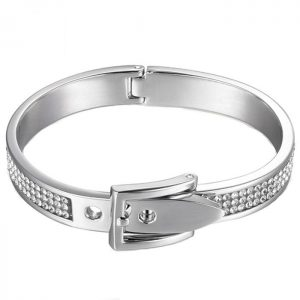 costume jewellery silver colour adjustable buckle bangle
