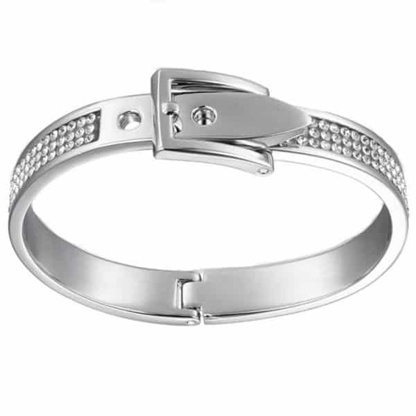 Crystal costume jewellery silver colour adjustable buckle bangle