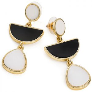 Gold colour black and white drop stud earrings