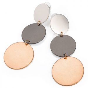 Multicolour matt silver, hematite and rose gold tone disc drop stud fashion jewellery earring
