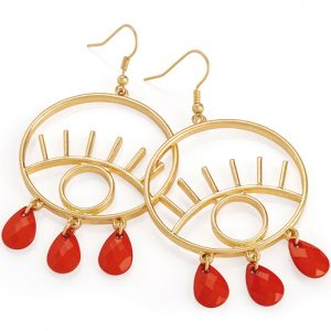 gold colour red bead eye design earring