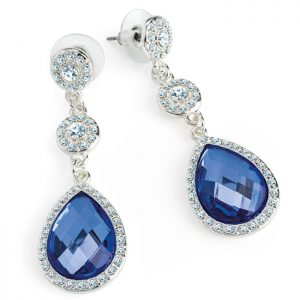 Silver colour crystal and blue teardrop drop stud earrings
