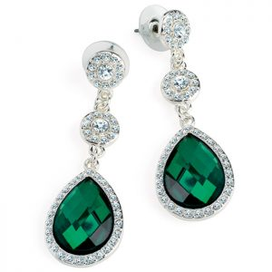 Silver colour crystal and green teardrop drop stud earrings