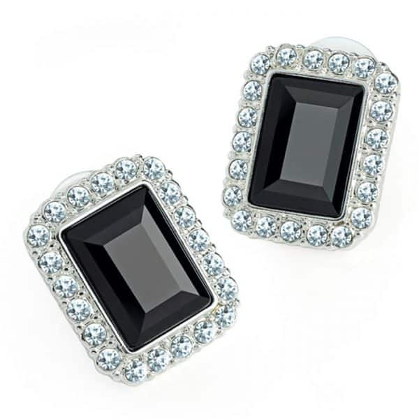Silver colour crystal and black rectangle design earring