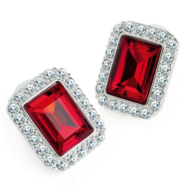 Silver colour crystal and red rectangle design earring