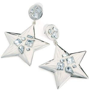 Silver colour crystal star design drop earring