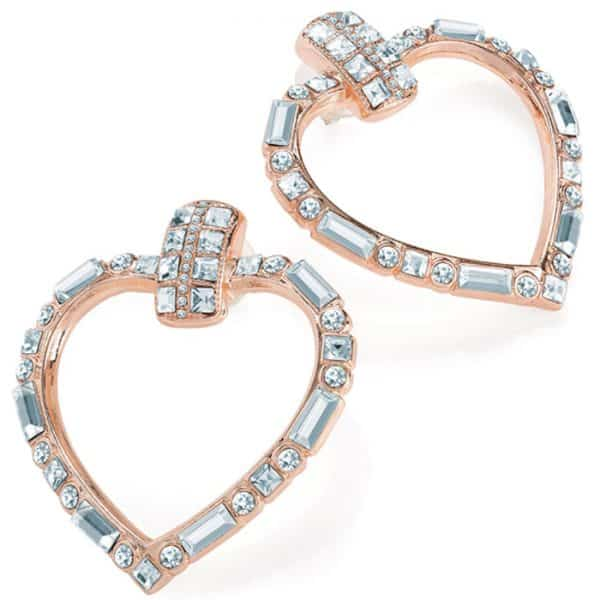 Gold colour crystal heart design earring