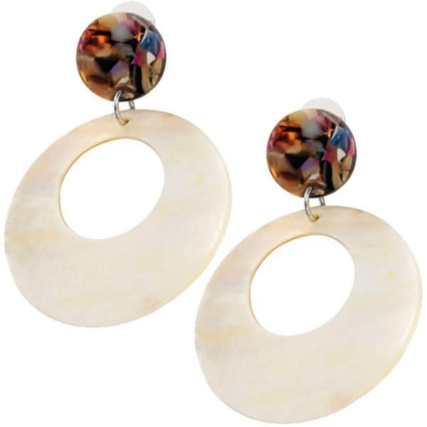 Mother of pearl shell style round earrings