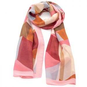 Pink and brown square print fashion scarf