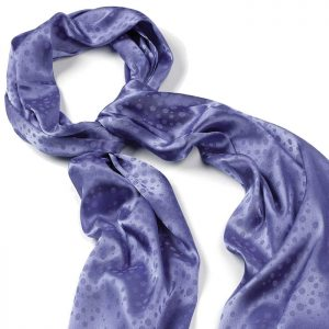 Blue satin design spotted print fashion scarf