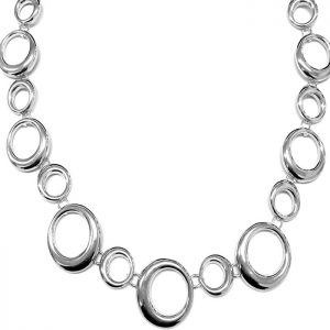 Silver colour irregular shape hoop choker necklace