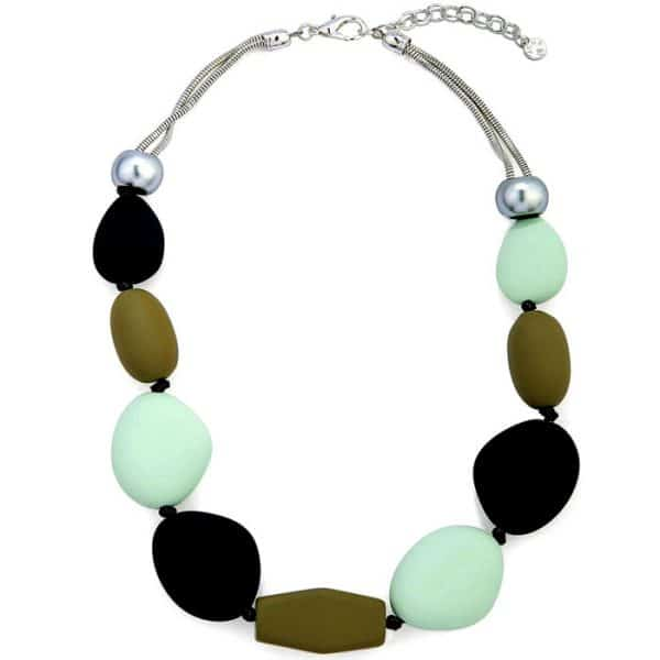 Colourful chunky with a rubber texture pebble style choker necklace