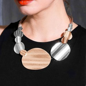 Large chunky gold and silver colour statement necklace