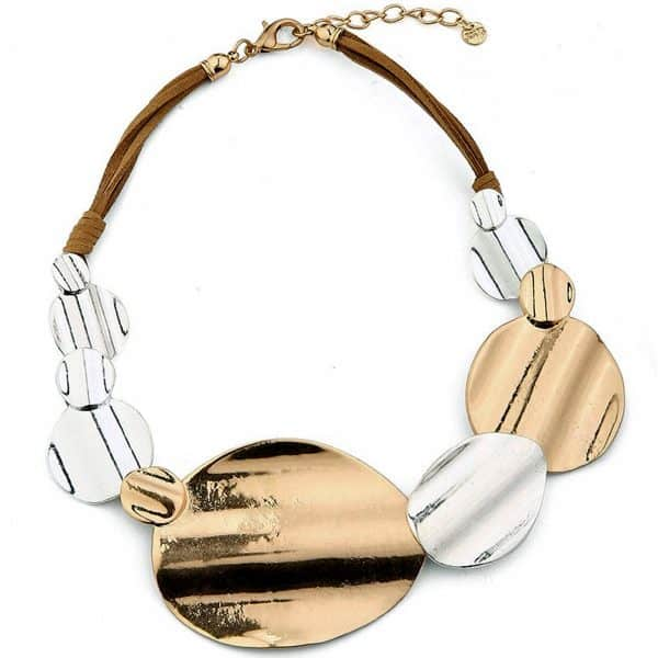 Fashion jewellery large chunky gold and silver colour statement necklace