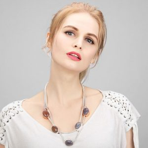 Women's large chunky stone silver colour layered chain choker necklace