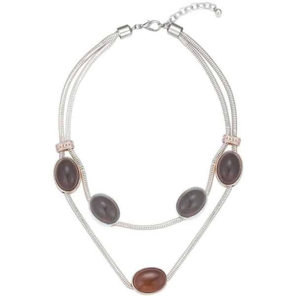Costume jewellery large chunky stone silver colour layered chain choker necklace
