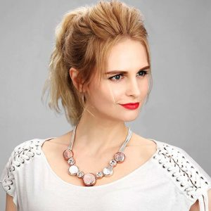 Costume jewellery silver and rose gold round disc and large crystal choker necklace