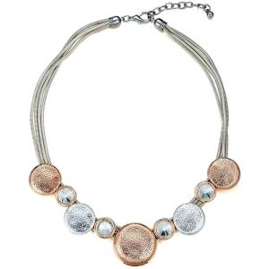 Costume jewelry silver and rose gold round disc and large crystal choker necklace