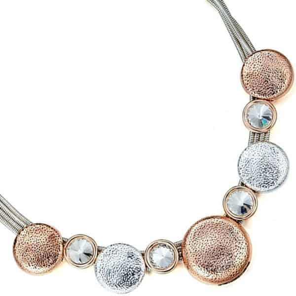 Fashion jewellery silver and rose gold round disc and large crystal choker necklace