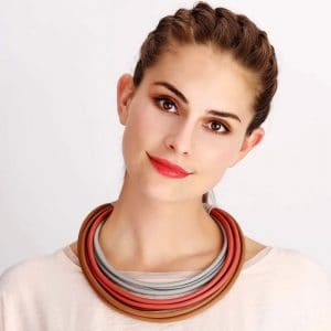 Fashion jewellery tribal style with colourful rubber statement choker necklace