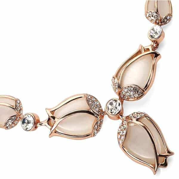 Luxurious costume jewellery rose gold tulip flower style jewellery set