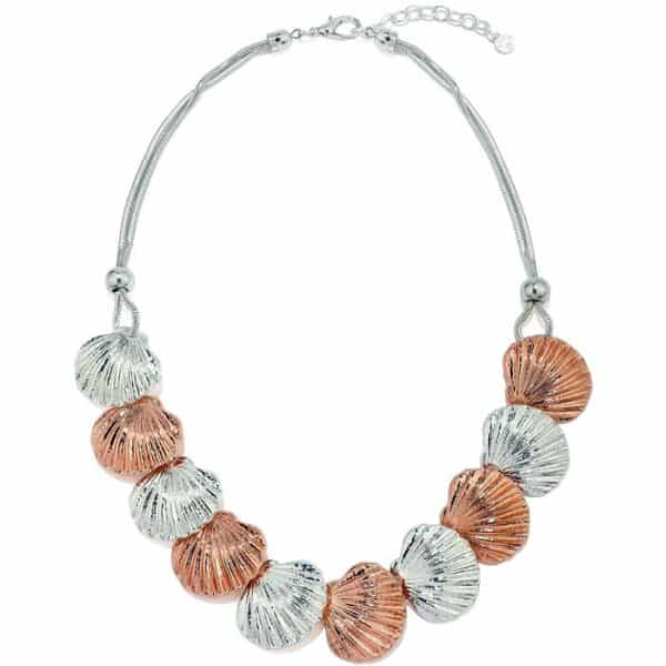 Silver and rose gold chunky shell style necklace