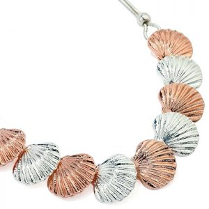 Silver and rose gold chunky shell necklace