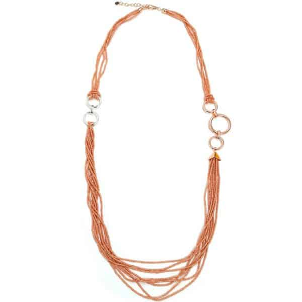 fashion jewellery multi strand pink beads including round hoops long necklace