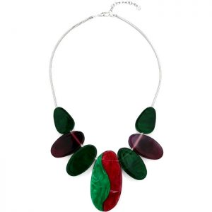 Colourful chunky oval resin style design choker statement necklace