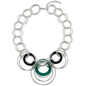 Large ring intertwined silver statement choker necklace