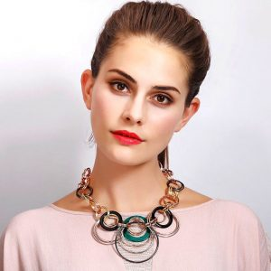 Large ring interwind silver statement choker necklace