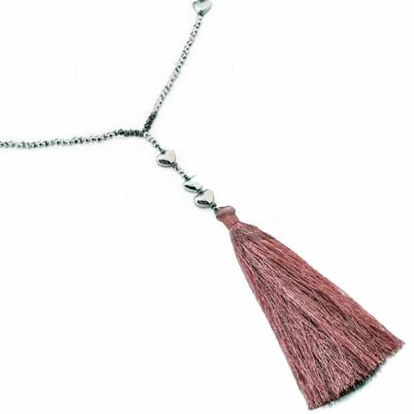 Fashion beadedlong chain necklace with hearts andlengthy tassel