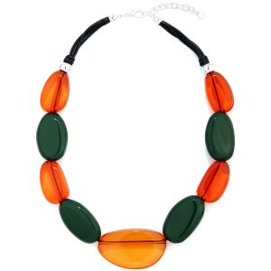 Colourful orange and green acrylic pebble style choker necklace