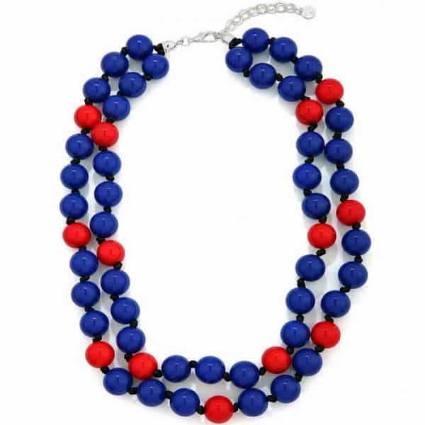 Blue and red chunky bead necklace
