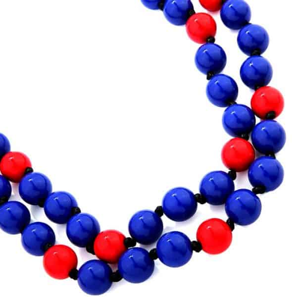 Blue and red chunky ball bead necklace