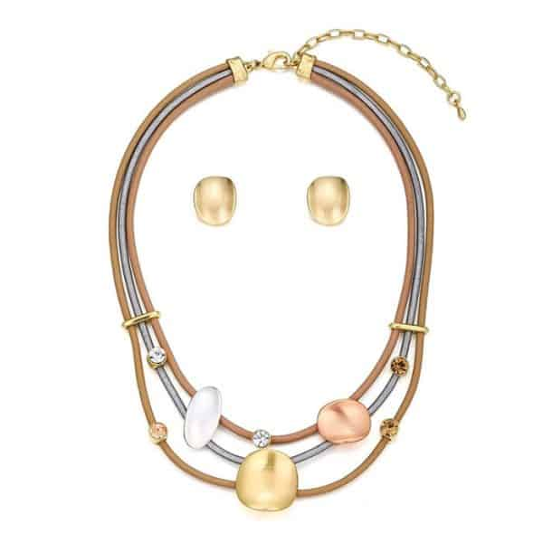 Crystal unique design leather choker necklace with matching earring jewellery set