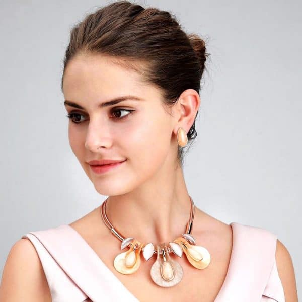 droplet design rose gold colour choker necklace with matching earring costume jewellery set