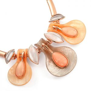 droplet design rose gold colour choker necklace with matching earring set