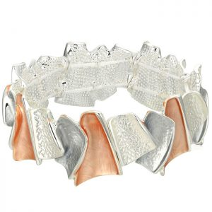 Fashion jewellery silver and peach colour irregular shape elasticated bracelet