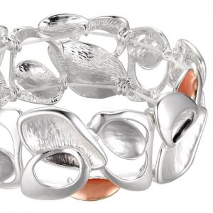 silver and peach colour irregular shape elasticated bracelet