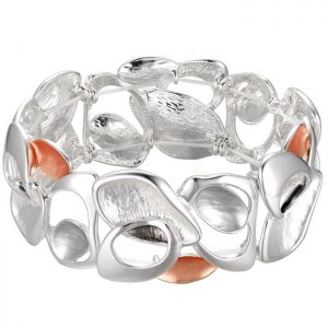 Costume jewellery silver and peach colour irregular shape elasticated bracelet