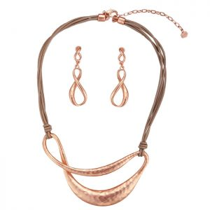 Large rose gold statement unique design pendant choker necklace and matching earring jewellery set