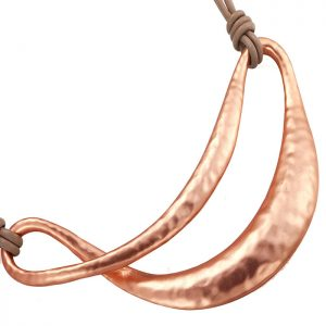 Large rose gold statement unique design pendant leather necklace and matching earring costume jewellery set