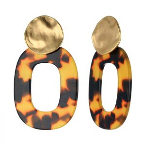 Oval acrylic faux tortoiseshell style large stud earrings