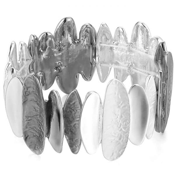 Costume jewellery silver and hematite colour oblong shape elasticated bracelet