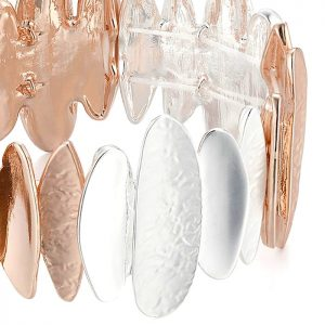 silver and rose gold colour oblong shape elasticated bracelet